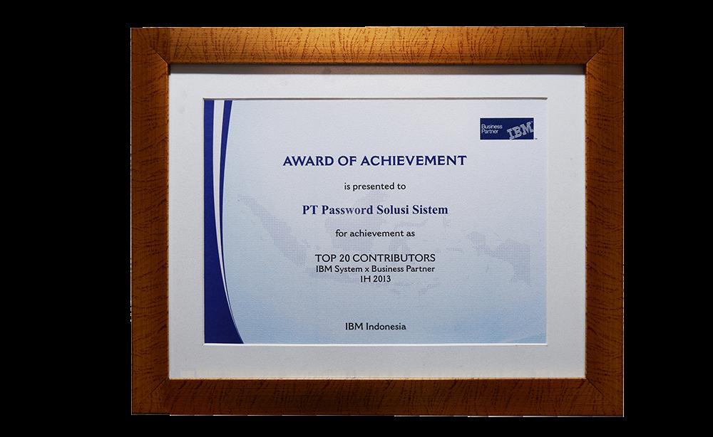 IBM Award Of Achievement Top 20 Contributors